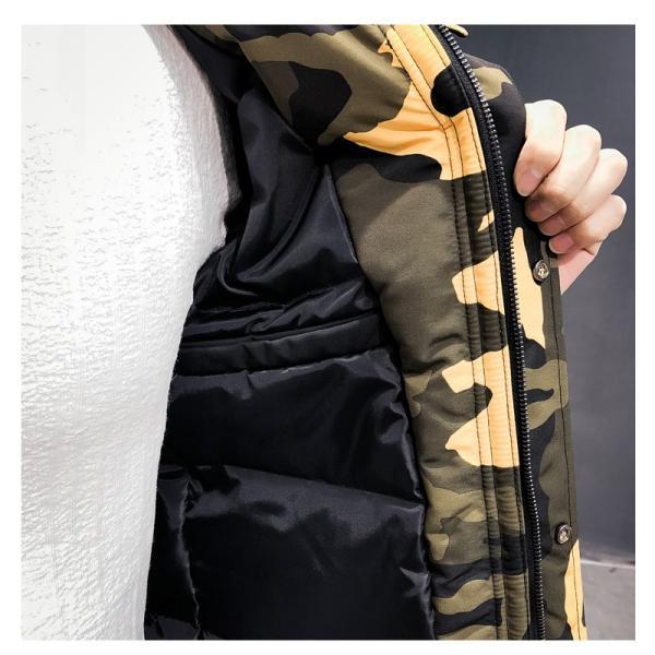 ビッグシルエット 韓国 ファッション メンズ 原宿系 韓国系メンズ 中綿コート 迷彩 ジップアップ フード付き コート メンズ メンズファッション ス|bigbangfellas|10
