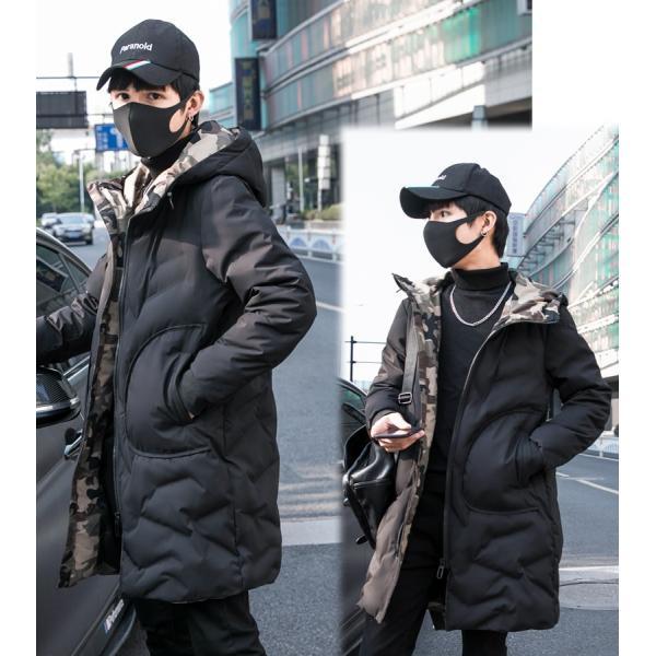 中綿コート裏側がカモ柄 迷彩 ジップアップ フード付き コート メンズ メンズファッション ストリート 韓流 韓国ファッション カジュアル 冬 秋 ジャケッ|bigbangfellas|04