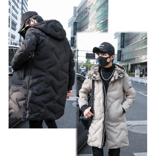 中綿コート裏側がカモ柄 迷彩 ジップアップ フード付き コート メンズ メンズファッション ストリート 韓流 韓国ファッション カジュアル 冬 秋 ジャケッ|bigbangfellas|05