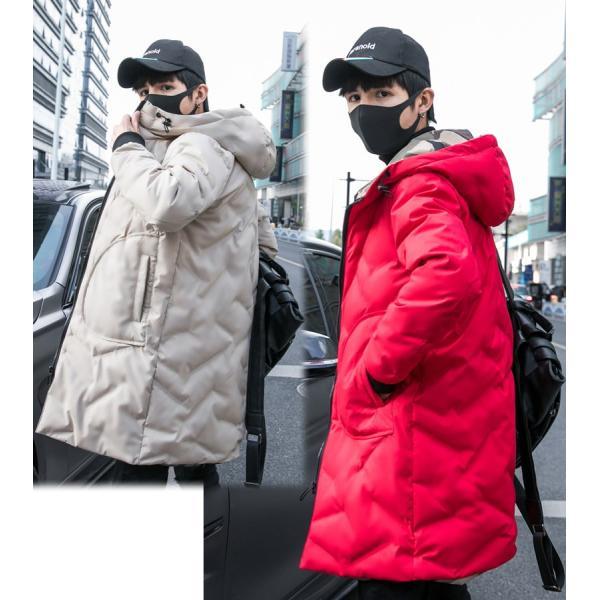 中綿コート裏側がカモ柄 迷彩 ジップアップ フード付き コート メンズ メンズファッション ストリート 韓流 韓国ファッション カジュアル 冬 秋 ジャケッ|bigbangfellas|06