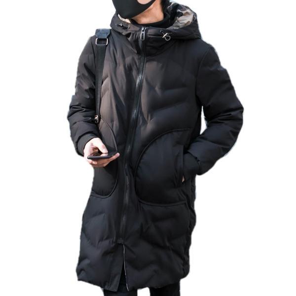 中綿コート裏側がカモ柄 迷彩 ジップアップ フード付き コート メンズ メンズファッション ストリート 韓流 韓国ファッション カジュアル 冬 秋 ジャケッ|bigbangfellas|08