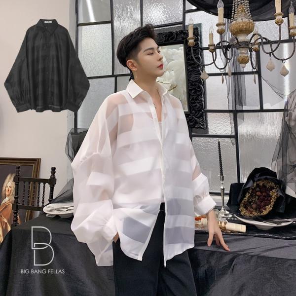 シースルー ボーダーシャツ ゆったり 透け感 透ける 長袖 カットソー メンズ メンズファッション ストリート系 カジュアル モード系 韓国ファッション bigbangfellas