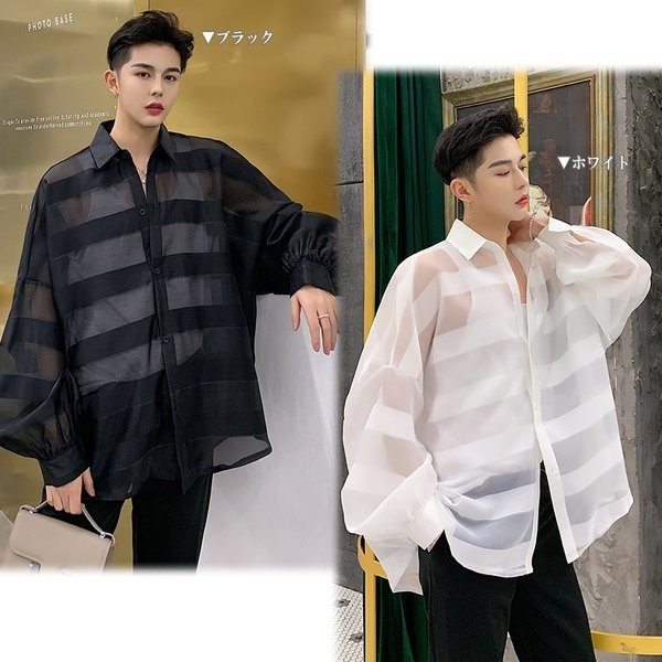 シースルー ボーダーシャツ ゆったり 透け感 透ける 長袖 カットソー メンズ メンズファッション ストリート系 カジュアル モード系 韓国ファッション bigbangfellas 02