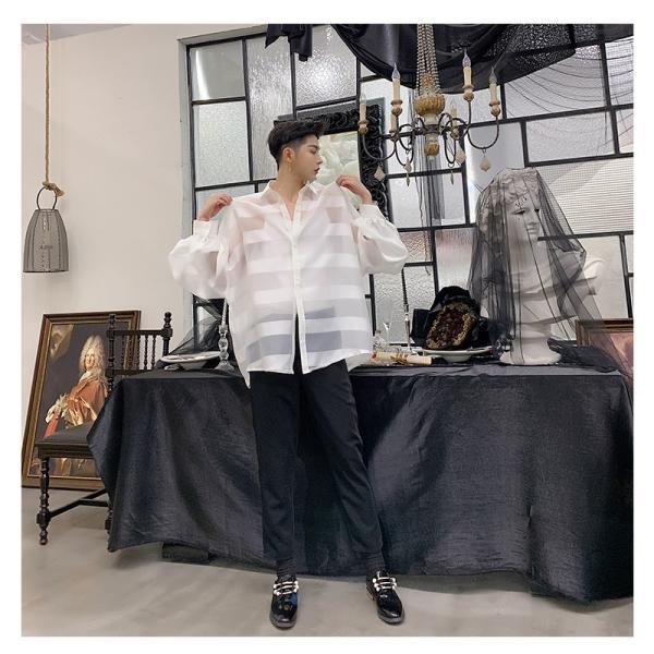 シースルー ボーダーシャツ ゆったり 透け感 透ける 長袖 カットソー メンズ メンズファッション ストリート系 カジュアル モード系 韓国ファッション bigbangfellas 11
