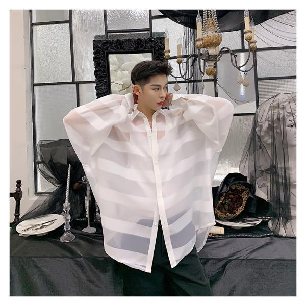シースルー ボーダーシャツ ゆったり 透け感 透ける 長袖 カットソー メンズ メンズファッション ストリート系 カジュアル モード系 韓国ファッション bigbangfellas 12