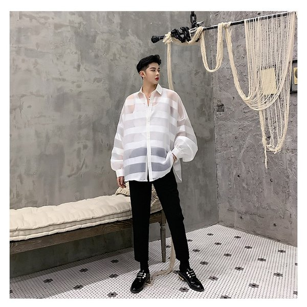 シースルー ボーダーシャツ ゆったり 透け感 透ける 長袖 カットソー メンズ メンズファッション ストリート系 カジュアル モード系 韓国ファッション bigbangfellas 13