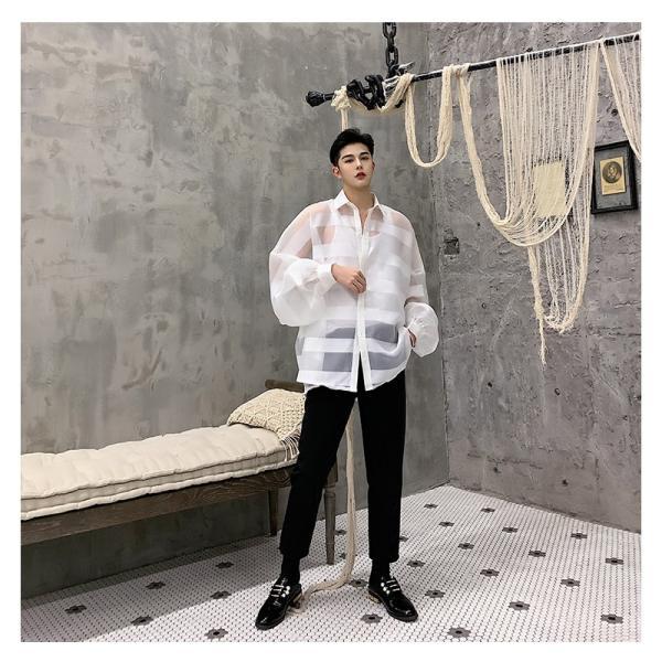 シースルー ボーダーシャツ ゆったり 透け感 透ける 長袖 カットソー メンズ メンズファッション ストリート系 カジュアル モード系 韓国ファッション bigbangfellas 14