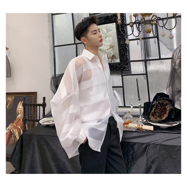 シースルー ボーダーシャツ ゆったり 透け感 透ける 長袖 カットソー メンズ メンズファッション ストリート系 カジュアル モード系 韓国ファッション bigbangfellas 15