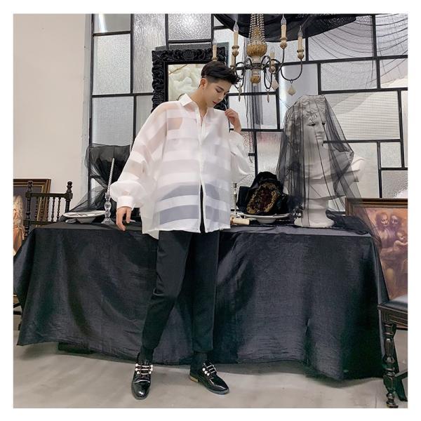 シースルー ボーダーシャツ ゆったり 透け感 透ける 長袖 カットソー メンズ メンズファッション ストリート系 カジュアル モード系 韓国ファッション bigbangfellas 16