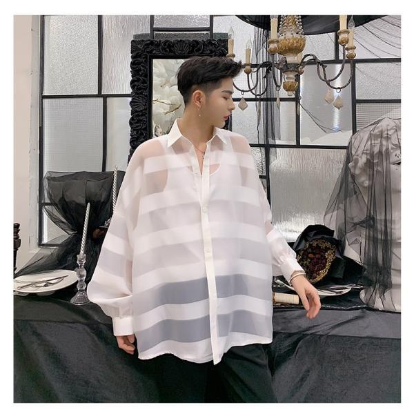 シースルー ボーダーシャツ ゆったり 透け感 透ける 長袖 カットソー メンズ メンズファッション ストリート系 カジュアル モード系 韓国ファッション bigbangfellas 17