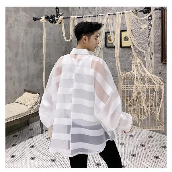 シースルー ボーダーシャツ ゆったり 透け感 透ける 長袖 カットソー メンズ メンズファッション ストリート系 カジュアル モード系 韓国ファッション bigbangfellas 18