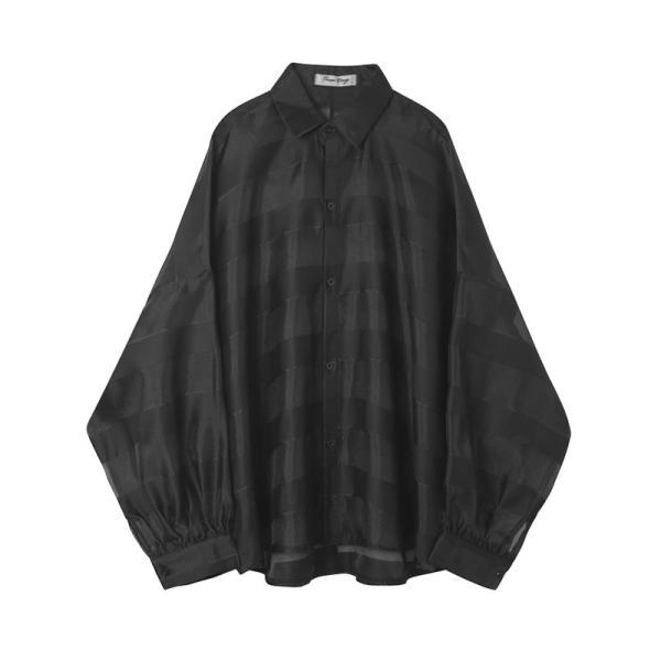 シースルー ボーダーシャツ ゆったり 透け感 透ける 長袖 カットソー メンズ メンズファッション ストリート系 カジュアル モード系 韓国ファッション bigbangfellas 19