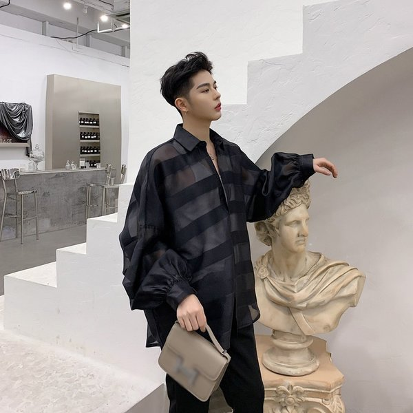 シースルー ボーダーシャツ ゆったり 透け感 透ける 長袖 カットソー メンズ メンズファッション ストリート系 カジュアル モード系 韓国ファッション bigbangfellas 03