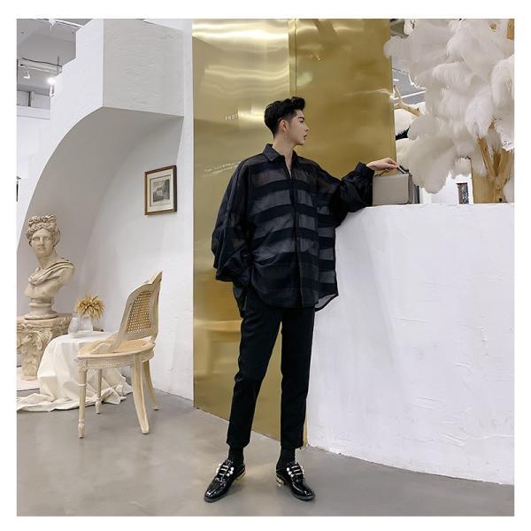 シースルー ボーダーシャツ ゆったり 透け感 透ける 長袖 カットソー メンズ メンズファッション ストリート系 カジュアル モード系 韓国ファッション bigbangfellas 04