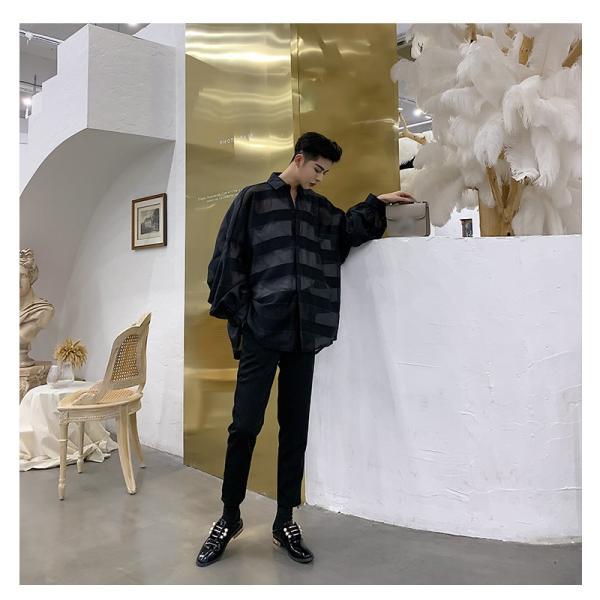 シースルー ボーダーシャツ ゆったり 透け感 透ける 長袖 カットソー メンズ メンズファッション ストリート系 カジュアル モード系 韓国ファッション bigbangfellas 05