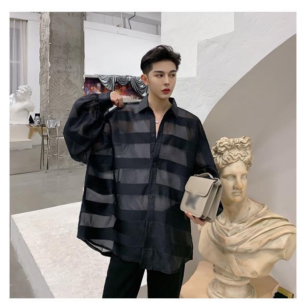 シースルー ボーダーシャツ ゆったり 透け感 透ける 長袖 カットソー メンズ メンズファッション ストリート系 カジュアル モード系 韓国ファッション bigbangfellas 06