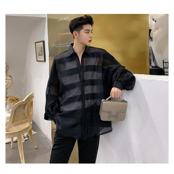 シースルー ボーダーシャツ ゆったり 透け感 透ける 長袖 カットソー メンズ メンズファッション ストリート系 カジュアル モード系 韓国ファッション bigbangfellas 07