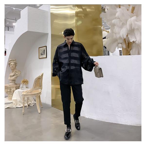 シースルー ボーダーシャツ ゆったり 透け感 透ける 長袖 カットソー メンズ メンズファッション ストリート系 カジュアル モード系 韓国ファッション bigbangfellas 08