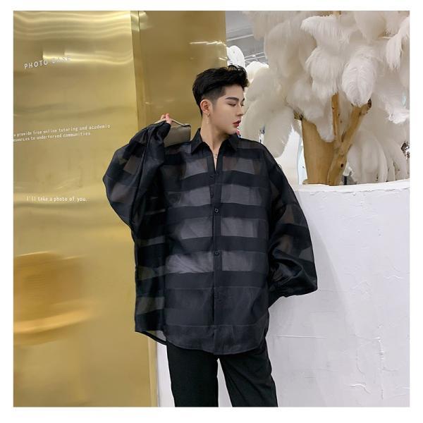 シースルー ボーダーシャツ ゆったり 透け感 透ける 長袖 カットソー メンズ メンズファッション ストリート系 カジュアル モード系 韓国ファッション bigbangfellas 09