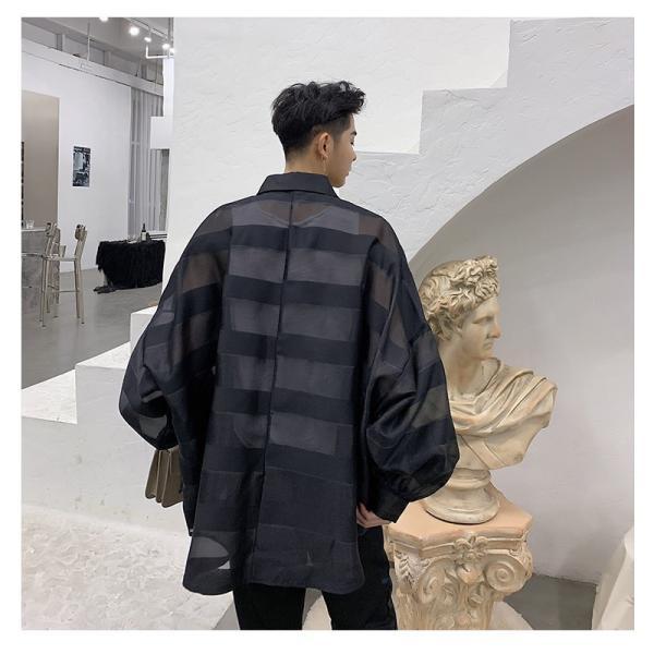 シースルー ボーダーシャツ ゆったり 透け感 透ける 長袖 カットソー メンズ メンズファッション ストリート系 カジュアル モード系 韓国ファッション bigbangfellas 10