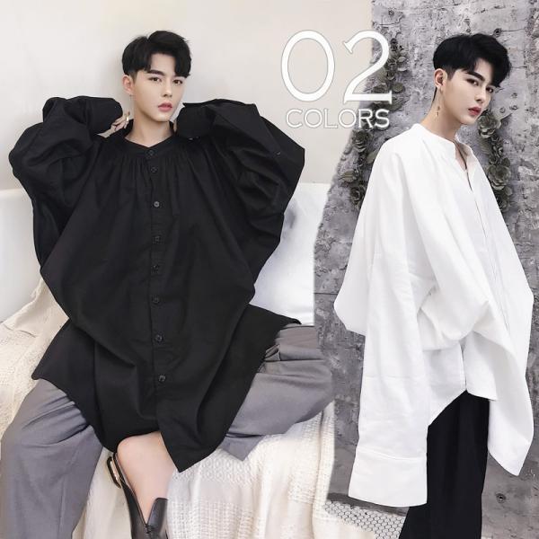 デザイン ノーカラー ロング丈 シャツ モダン ラグジュアリー カットソー ロングスリーブ 長袖 メンズ メンズファッション  無地 韓流 韓国ファッション|bigbangfellas