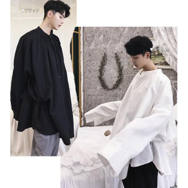 デザイン ノーカラー ロング丈 シャツ モダン ラグジュアリー カットソー ロングスリーブ 長袖 メンズ メンズファッション  無地 韓流 韓国ファッション|bigbangfellas|02