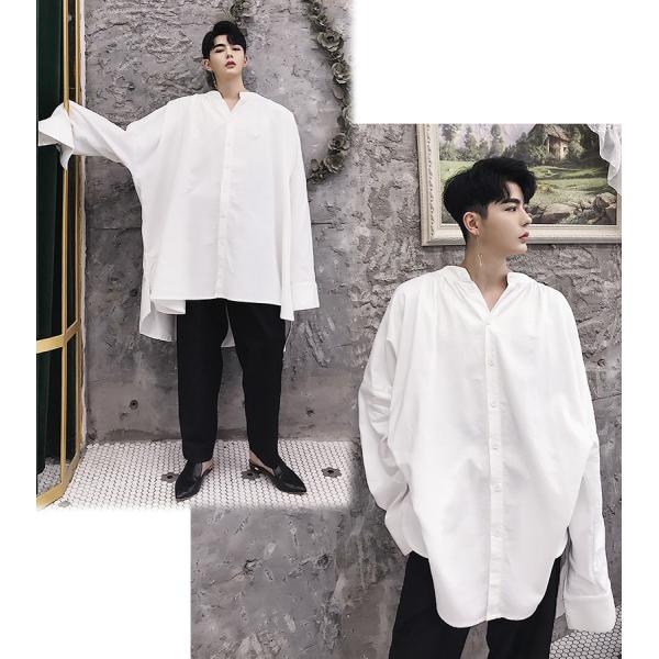 デザイン ノーカラー ロング丈 シャツ モダン ラグジュアリー カットソー ロングスリーブ 長袖 メンズ メンズファッション  無地 韓流 韓国ファッション|bigbangfellas|03