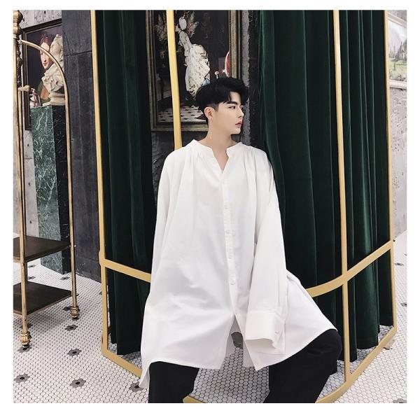 デザイン ノーカラー ロング丈 シャツ モダン ラグジュアリー カットソー ロングスリーブ 長袖 メンズ メンズファッション  無地 韓流 韓国ファッション|bigbangfellas|04