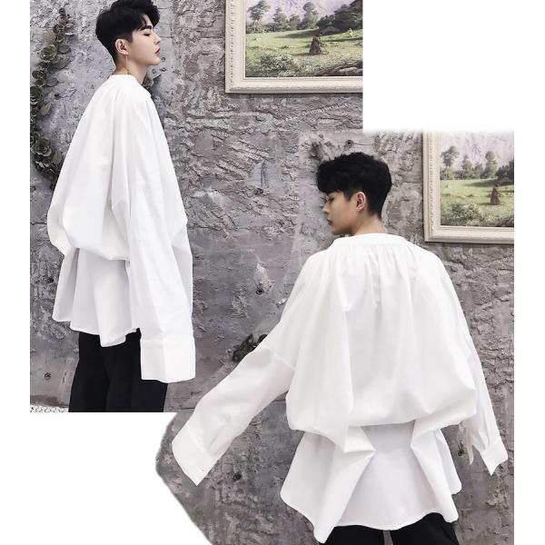 デザイン ノーカラー ロング丈 シャツ モダン ラグジュアリー カットソー ロングスリーブ 長袖 メンズ メンズファッション  無地 韓流 韓国ファッション|bigbangfellas|05