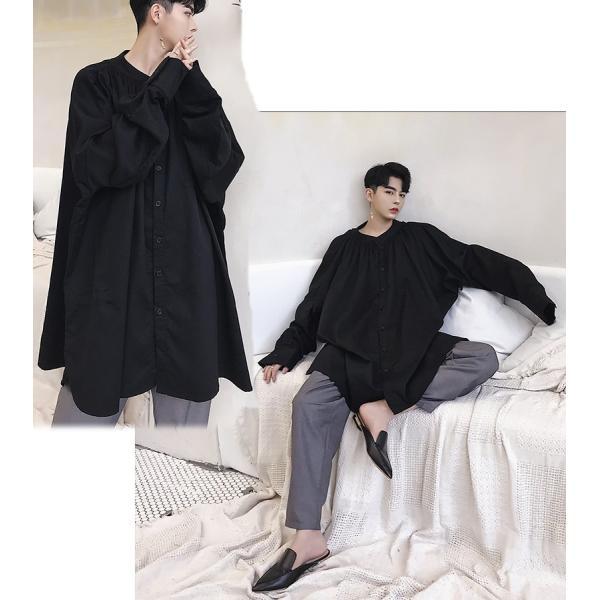 デザイン ノーカラー ロング丈 シャツ モダン ラグジュアリー カットソー ロングスリーブ 長袖 メンズ メンズファッション  無地 韓流 韓国ファッション|bigbangfellas|06