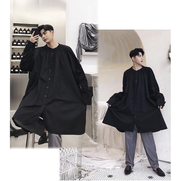 デザイン ノーカラー ロング丈 シャツ モダン ラグジュアリー カットソー ロングスリーブ 長袖 メンズ メンズファッション  無地 韓流 韓国ファッション|bigbangfellas|07