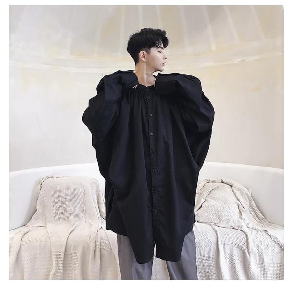 デザイン ノーカラー ロング丈 シャツ モダン ラグジュアリー カットソー ロングスリーブ 長袖 メンズ メンズファッション  無地 韓流 韓国ファッション|bigbangfellas|08