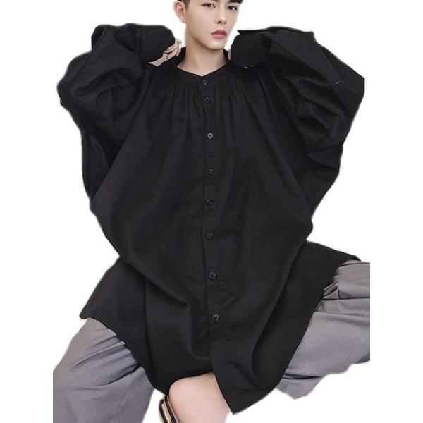 デザイン ノーカラー ロング丈 シャツ モダン ラグジュアリー カットソー ロングスリーブ 長袖 メンズ メンズファッション  無地 韓流 韓国ファッション|bigbangfellas|09