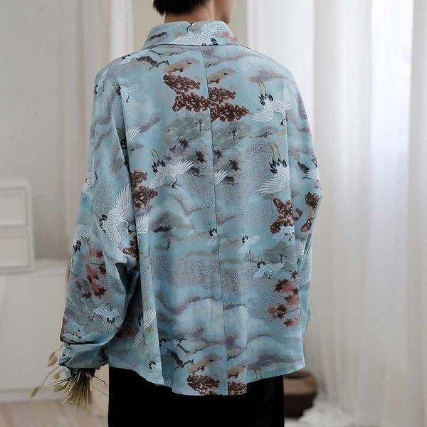 シャツ メンズ 長袖 ストライプ 柄 和柄 鶴 ボタニカル 和風 アフリカン 民族 カジュアルシャツ 韓国 ファッション 韓流 K-POP ビッグシル|bigbangfellas|11
