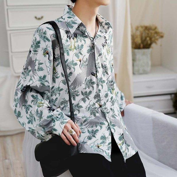 シャツ メンズ 長袖 ストライプ 柄 和柄 鶴 ボタニカル 和風 アフリカン 民族 カジュアルシャツ 韓国 ファッション 韓流 K-POP ビッグシル|bigbangfellas|12