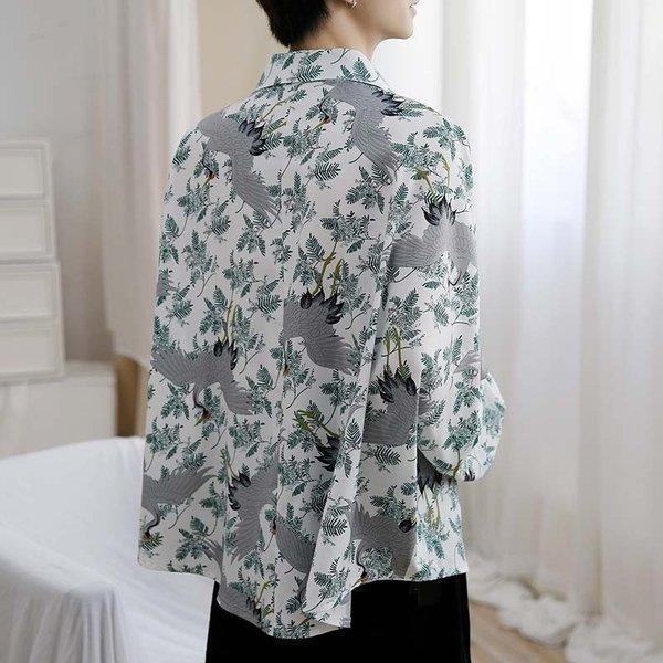 シャツ メンズ 長袖 ストライプ 柄 和柄 鶴 ボタニカル 和風 アフリカン 民族 カジュアルシャツ 韓国 ファッション 韓流 K-POP ビッグシル|bigbangfellas|13