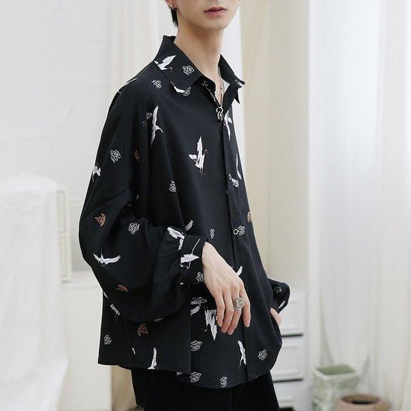 シャツ メンズ 長袖 ストライプ 柄 和柄 鶴 ボタニカル 和風 アフリカン 民族 カジュアルシャツ 韓国 ファッション 韓流 K-POP ビッグシル|bigbangfellas|14