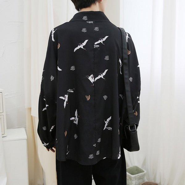 シャツ メンズ 長袖 ストライプ 柄 和柄 鶴 ボタニカル 和風 アフリカン 民族 カジュアルシャツ 韓国 ファッション 韓流 K-POP ビッグシル|bigbangfellas|15