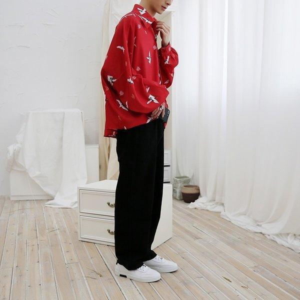 シャツ メンズ 長袖 ストライプ 柄 和柄 鶴 ボタニカル 和風 アフリカン 民族 カジュアルシャツ 韓国 ファッション 韓流 K-POP ビッグシル|bigbangfellas|16