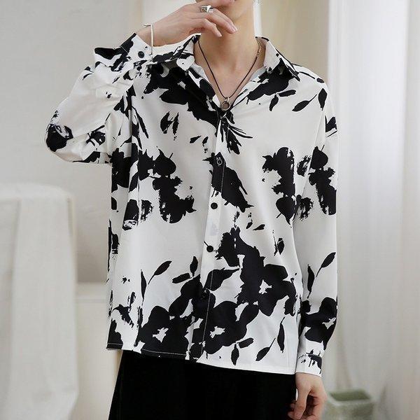 シャツ メンズ 長袖 ストライプ 柄 和柄 鶴 ボタニカル 和風 アフリカン 民族 カジュアルシャツ 韓国 ファッション 韓流 K-POP ビッグシル|bigbangfellas|17