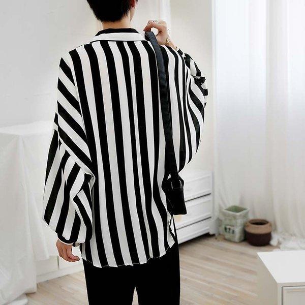 シャツ メンズ 長袖 ストライプ 柄 和柄 鶴 ボタニカル 和風 アフリカン 民族 カジュアルシャツ 韓国 ファッション 韓流 K-POP ビッグシル|bigbangfellas|05