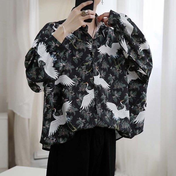 シャツ メンズ 長袖 ストライプ 柄 和柄 鶴 ボタニカル 和風 アフリカン 民族 カジュアルシャツ 韓国 ファッション 韓流 K-POP ビッグシル|bigbangfellas|08