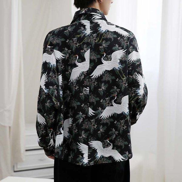 シャツ メンズ 長袖 ストライプ 柄 和柄 鶴 ボタニカル 和風 アフリカン 民族 カジュアルシャツ 韓国 ファッション 韓流 K-POP ビッグシル|bigbangfellas|09
