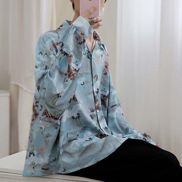 シャツ メンズ 長袖 ストライプ 柄 和柄 鶴 ボタニカル 和風 アフリカン 民族 カジュアルシャツ 韓国 ファッション 韓流 K-POP ビッグシル|bigbangfellas|10