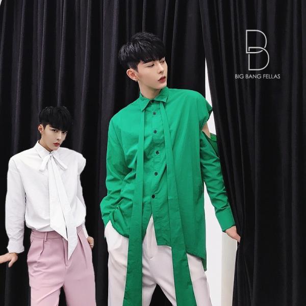 リボン付き デザインシャツ モード系 韓流 韓国 ファッション メンズ サロン系 原宿系 韓国系メンズ ボタンダウン  カットソー 長袖 メンズ スト|bigbangfellas
