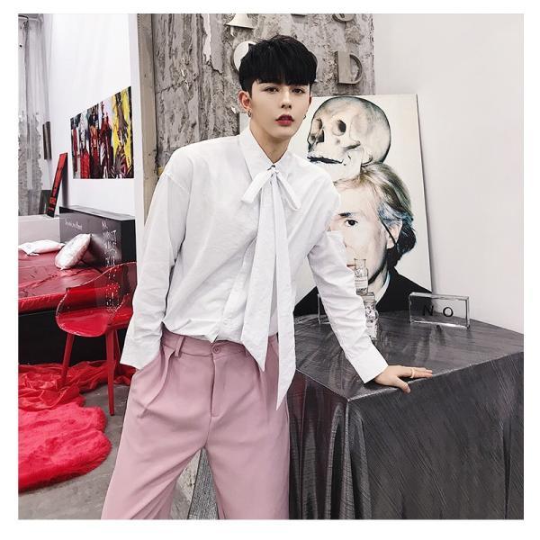 リボン付き デザインシャツ モード系 韓流 韓国 ファッション メンズ サロン系 原宿系 韓国系メンズ ボタンダウン  カットソー 長袖 メンズ スト|bigbangfellas|11