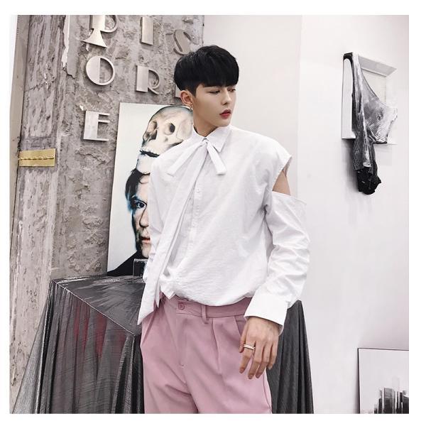 リボン付き デザインシャツ モード系 韓流 韓国 ファッション メンズ サロン系 原宿系 韓国系メンズ ボタンダウン  カットソー 長袖 メンズ スト|bigbangfellas|13