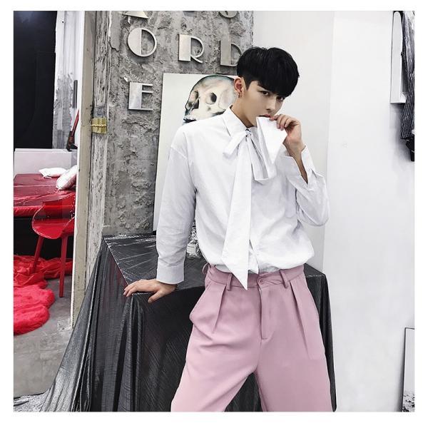 リボン付き デザインシャツ モード系 韓流 韓国 ファッション メンズ サロン系 原宿系 韓国系メンズ ボタンダウン  カットソー 長袖 メンズ スト|bigbangfellas|14