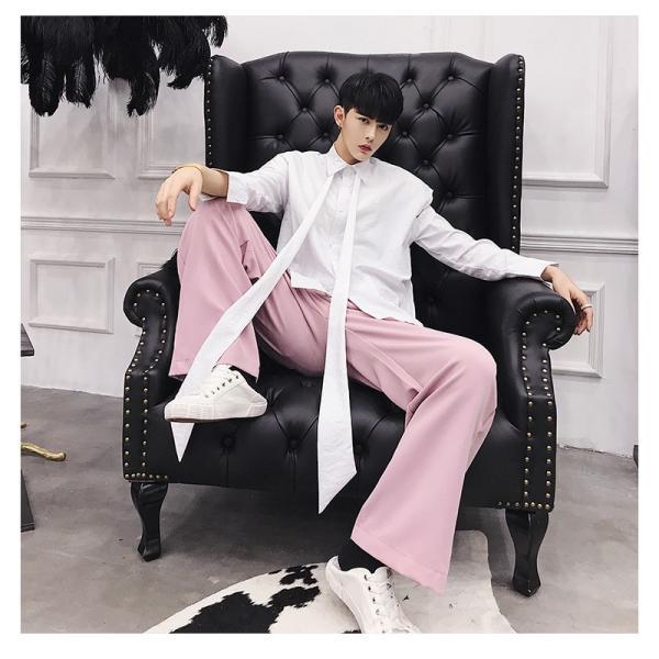 リボン付き デザインシャツ モード系 韓流 韓国 ファッション メンズ サロン系 原宿系 韓国系メンズ ボタンダウン  カットソー 長袖 メンズ スト|bigbangfellas|15