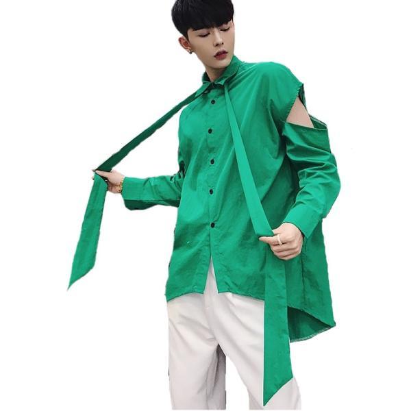 リボン付き デザインシャツ モード系 韓流 韓国 ファッション メンズ サロン系 原宿系 韓国系メンズ ボタンダウン  カットソー 長袖 メンズ スト|bigbangfellas|16